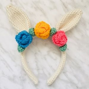Crocheted Rabbit Ear Headband in Cream Yarn